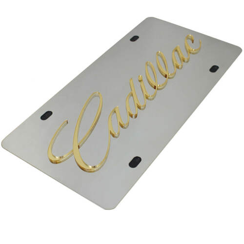 Cadillac Gold Laser-Cut Script Name On Polished Stainless Steel License Plate