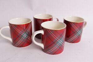 Williams Sonoma Christmas Catalog.Set 4 Nib Williams Sonoma Christmas Tartan Coffee Mugs Mug