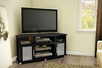 Corner TV Entertainment Stand Black Style Modern DVD Storage Glass Door Console