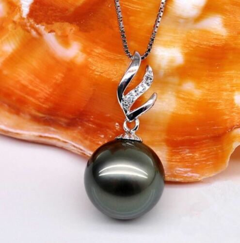 Tahitian Black SHELL Pearl 12mm silver angel wing pendant luxury S925 Necklace