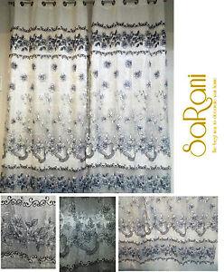 Cortina-de-Organza-y-Shantung-Adornos-Floral-en-Noir-2-Paneles-140x280-cm