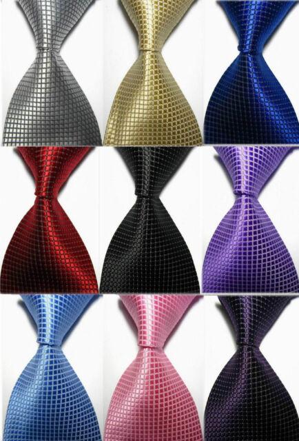 New Classic Solid Checks of 11 Color Jacquard Woven 100% Silk Men's Tie Necktie