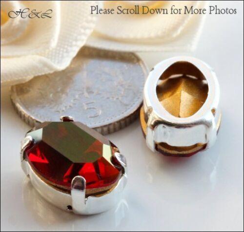 3 swarovski lt siam rouge spécial starlight vintage crystal oval sew on sp 14x10mm