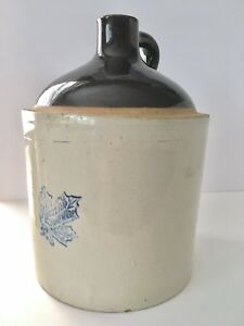 Vintage-Western-Stoneware-Moonshine-Jug-5-Gallon-Ceramic-Whiskey-Maple-Leaf-Logo
