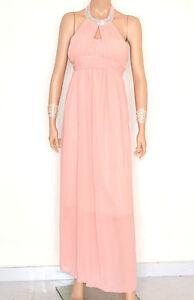 best sneakers 53e0c 189bf Dettagli su VESTITO ROSA CIPRIA donna ABITO LUNGO strass seta elegante  cerimonia dress E130