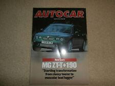 MG ZT-T + 190 2001-02 UK Market New Model Introduction Test Brochure Autocar