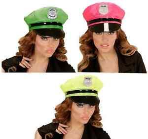 Ladies Neon Police Hat Pink Yellow or Green Hen Night Fancy Dress Hat