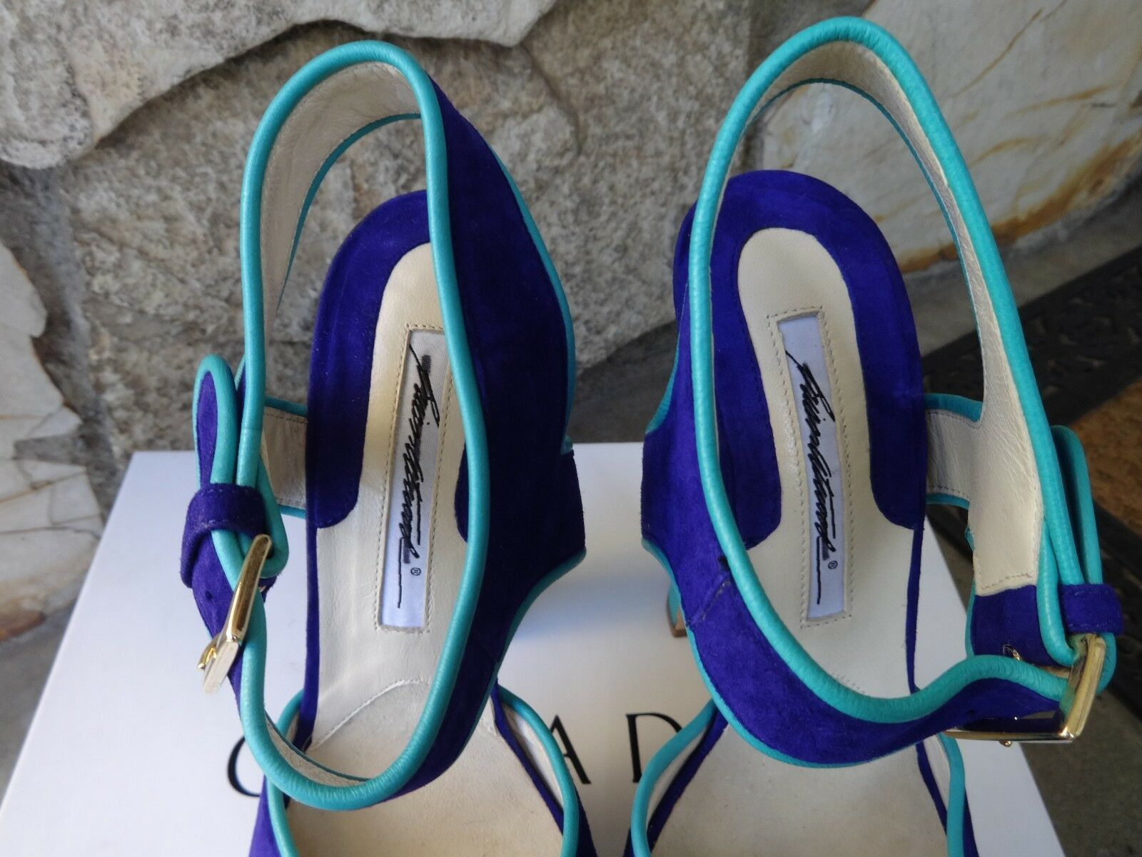 Brian Atwood  Karin  SkyHigh Platform Sandal Sandal Sandal Suede  EU Size 38.5 291d08