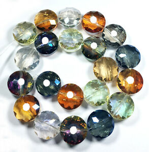 14mm Faceted AB White Crystal Quartz Round Loose beads 14PCS