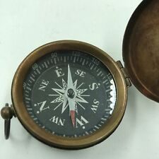 Vintage Brass Dalvey Style Compass with Lid Outdoor Old Nautical Pocket Necklace