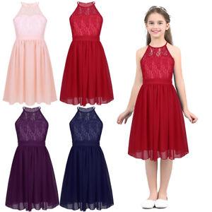 7d9c18a9c36 Kids Girls Lace Chiffon Halter Neck Flower Princess Pageant Wedding ...
