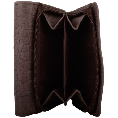 Ladies Holder Womens Crocodile Design Tri-Fold RFID Protected Wallet Purse