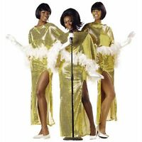 Motown Diva Costume Famous 60's Singers Gold Liquid Sequin 2 Piece Gown & Cape