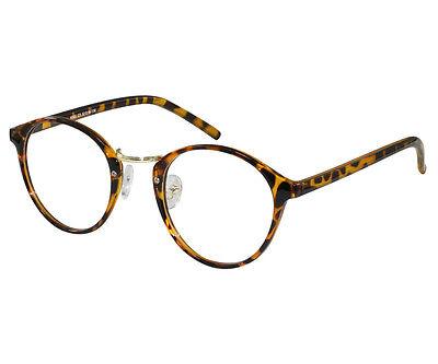 EBE Reading Glasses Mens Womens Round Frame Tortoise Horned Rim Anti Glare RX