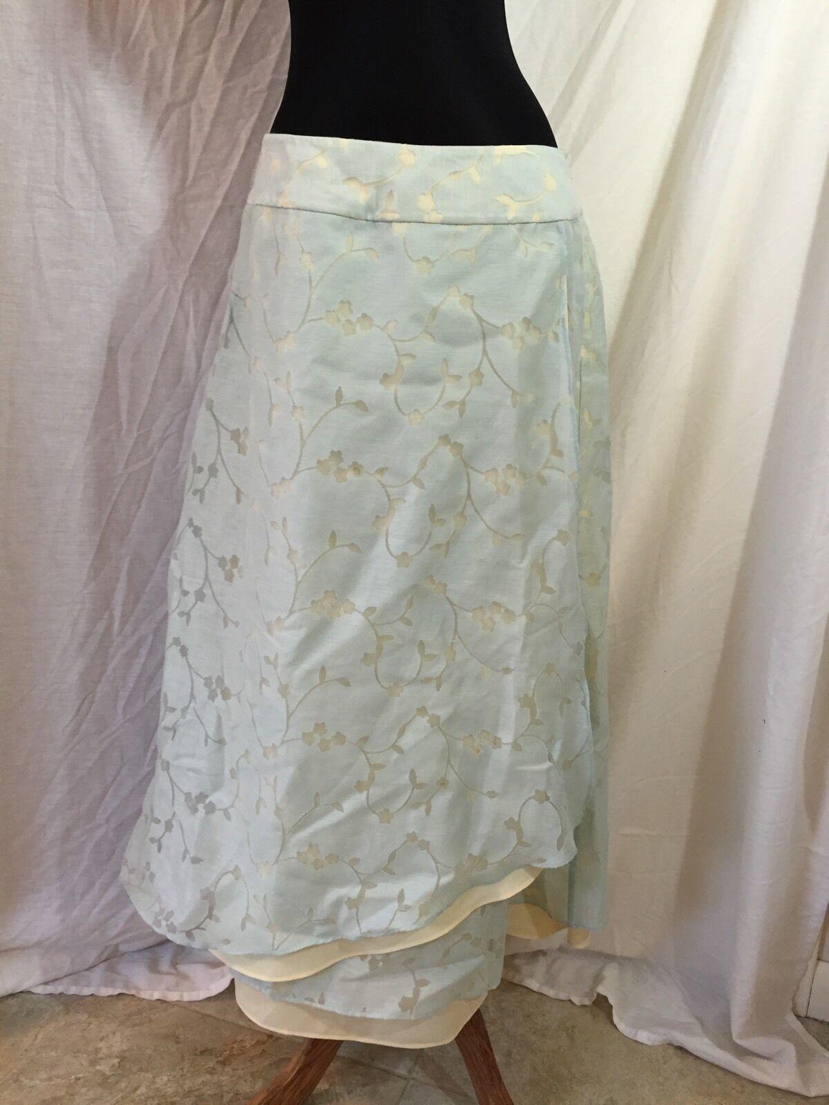 J.Jill J. Jill Pretty Layered Overlap Wrap Style Skirt bluee Cream  Size 12