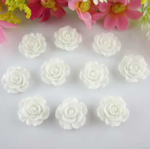 30pcs Resin Rose Flower Flatback Buttons DIY Scrapbooking Appliques