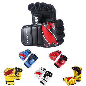 MMA-Grappling-Gloves-UFC-Cage-Boxing-Fight-Punch-Glove-Mitts-Leather-Training