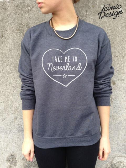 * TAKE ME TO NEVERLAND Jumper Top Sweater Sweatshirt Cute Heart Fashion Tumblr *
