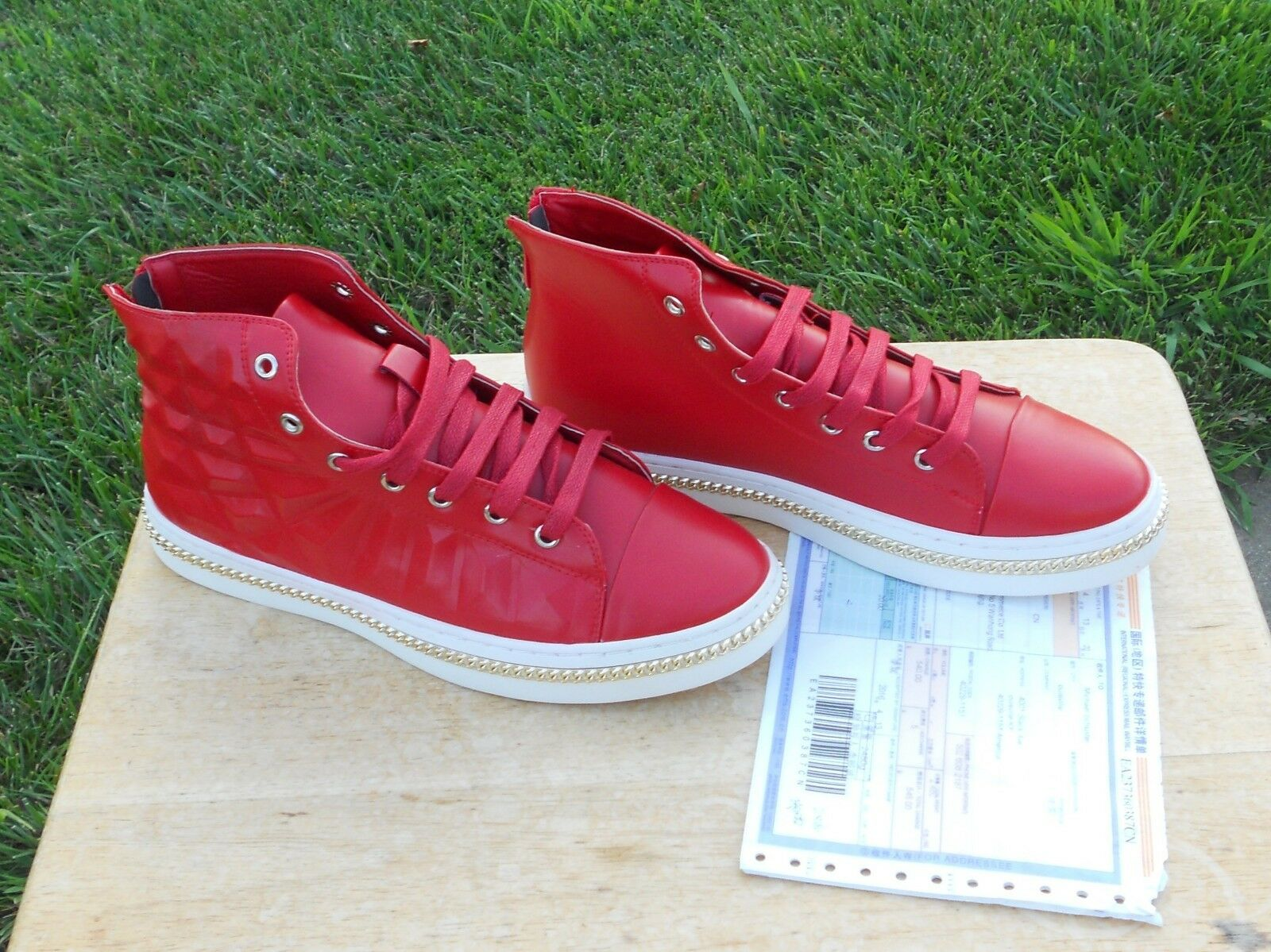High Top Gold Chain Fashion Boots Scarpe da Ginnastica Boots Fashion Shoes High Tops Rosso  540 China Import f00786