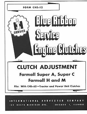 Farmall Clutch Adjustment Service Manual H M Super A C   eBay