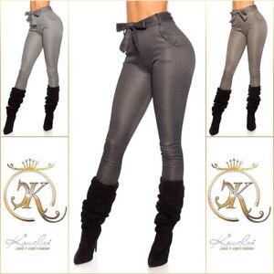 High Waist Pants Ladies Leggings Treggings With Belt-show Original Title Easy To Repair
