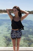 Refuge Womens Ladies Black White Print Shorts Lace Trim Drawstring Waist