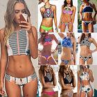 Sexy Women High Neck Bikini Set Bandage Push-Up Padded Swimwear Swimsuit Bathers