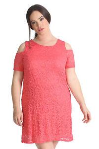 Womens Dress Plus Size Ladies Tunic Floral Lace Cut Cold Shoulder ... 5b61d98f4