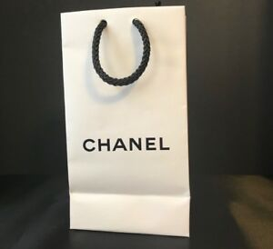 ec7b4e27432c CHANEL Gift Bag New Paper AUTHENTIC WHITE with BLACK ROPE HANDLES | eBay