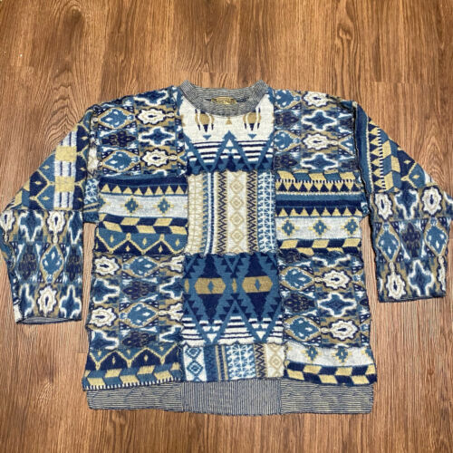 Vintage 90s Express Oversized Tricot Blue Cardigan