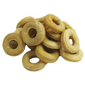 20-to-80-Natural-Pressed-Rawhide-Rings-Dog-Treats-7-5cm-3-034-Dog-Chews-Hide-NEW