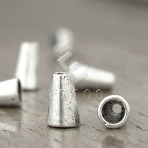 100pcs Tibetan Silver Metal End Beads Caps DIY Jewelry Findings Cone 10x6x6mm HC
