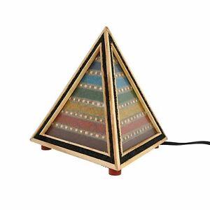 Home-Decor-multi-Gemstone-Sept-Chakra-en-bois-table-lampe-de-bureau-ampoule-non-inclus