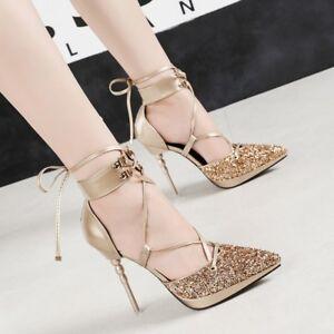 dd1a79f94ffe Image is loading Women-Elegant-Glitter-Party-Platform-Stilettos-High-Heel-