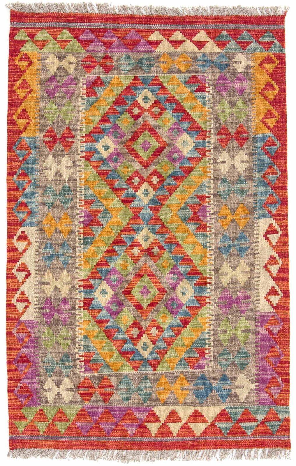 Carpetfine  Tapis  Kilim Afghan - 80x125 cm MultiColoreeee - Géométrique - Tissé à