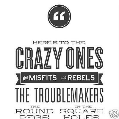 "Steve Jobs - ""Here's to the Crazy Ones"" 12""x36"" Poster. Great Graduation Gift."