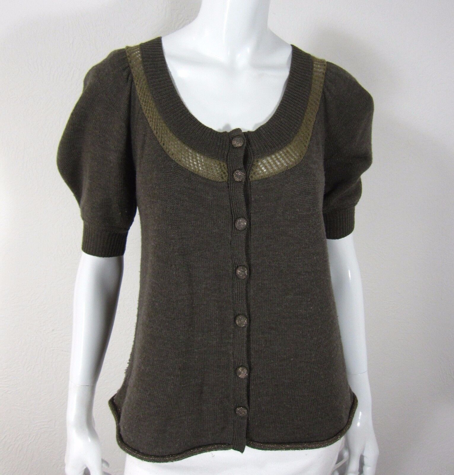 Rebecca Taylor Short Sleeve Cardigan Sweater Size XS Extra Small Solid Brown