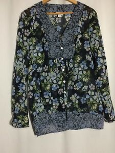 J-Jill-Womens-Long-Sleeve-Sheer-Blouse-V-neck-Top-Floral-Black-and-Blue-Medium