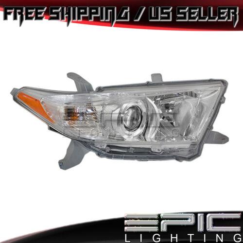 Left Driver Side LH 2011-2013 Toyota Highlander US Built Headlight Headlamp