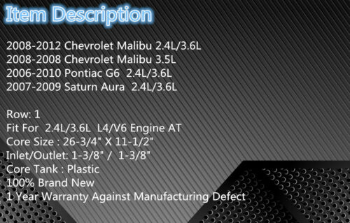 2864 New Radiator For 2008-2012 Chevrolet Malibu 2.4L//3.6L 3.5L 2009 2010 2011