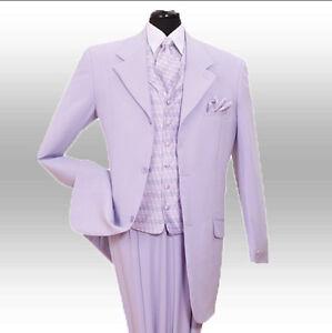 New Men's Stylish Fashion Suit+Vest+Tie+hanky-- Lavender ...
