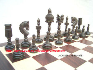 NEW-RARE-EBONY-WOOD-INTRICATELY-HANDCARVED-HANDMADE-CHESS-SET