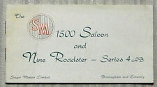 SINGER SM 1500 Saloon & NINE ROADSTER SERIES 4AB Car Sales Brochure c1952