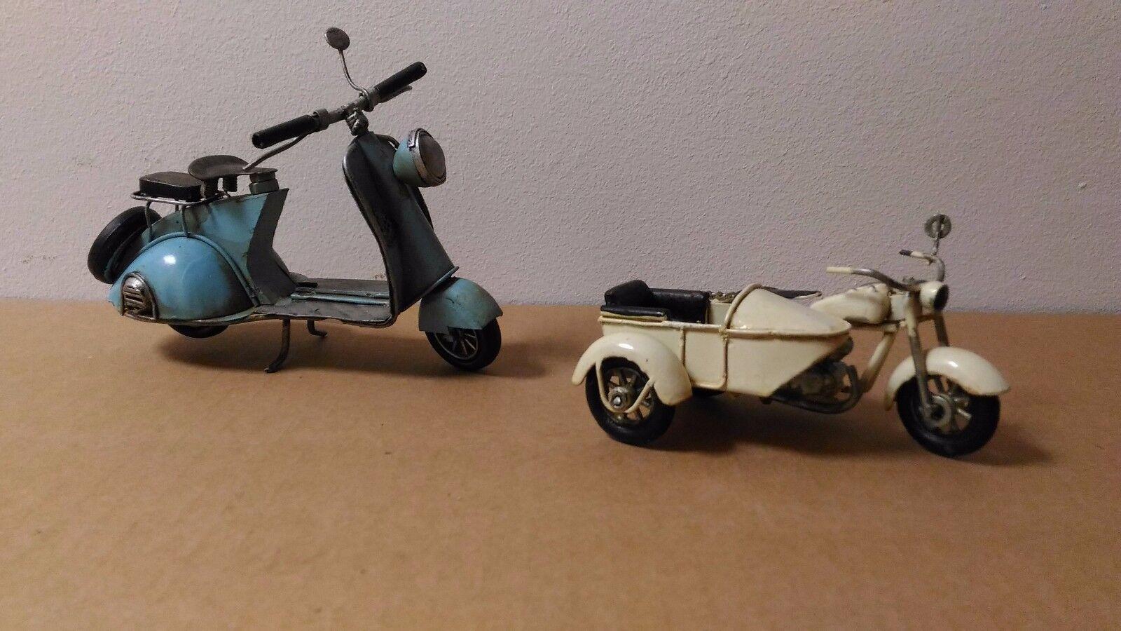 Coppia Set 2 modellini moto+sidecar Vintage