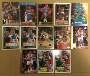 Muggsy-Bogues-LOT-of-13-insert-base-cards-NM-1990-1997-Charlotte-Hornets-NBA