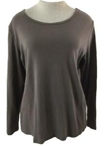 St Johns Bay knit top Size XL brown long sleeve womens cotton