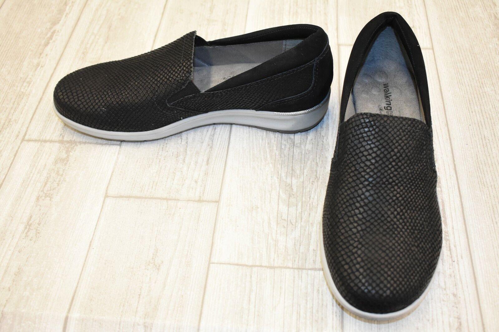 Walking Cradles Orleans Embossed Nubuck Slip On scarpe, Wouomo Dimensione 8.5W, nero