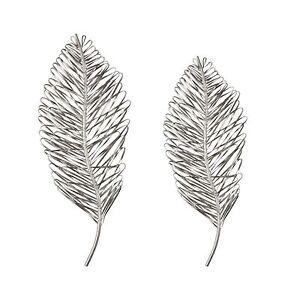 Details About Set 2 Palm Leaf Wall Decor Art Metallic Silver 27h Metal Ribbon Modern Pair New