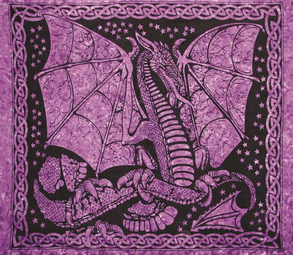 Handmade Cotton Celtic Dragon Tapestry Tablecloth Coverlet Spread Purple 90x84