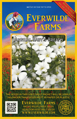 Everwilde Farms Mylar Seed Packet 1000 Annual Baby/'s Breath Wildflower Seeds